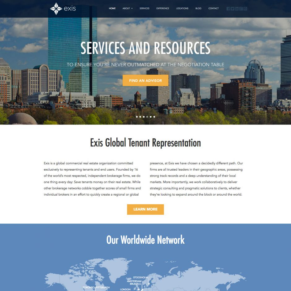 Exis website design by Ashley Lewis