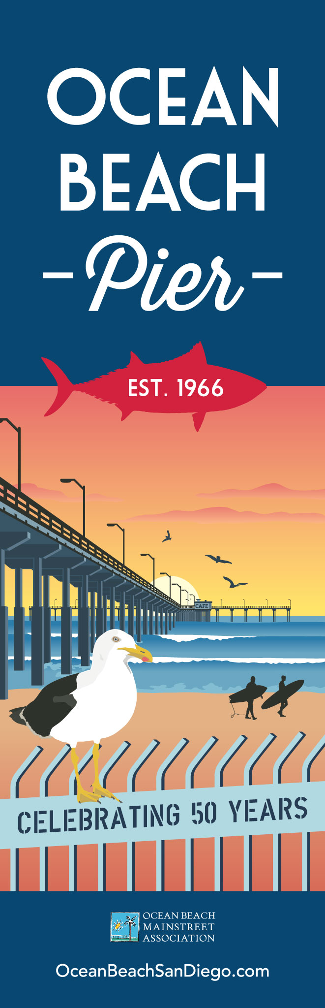 OB Pier 50th anniversary banner design by Ashley Lewis