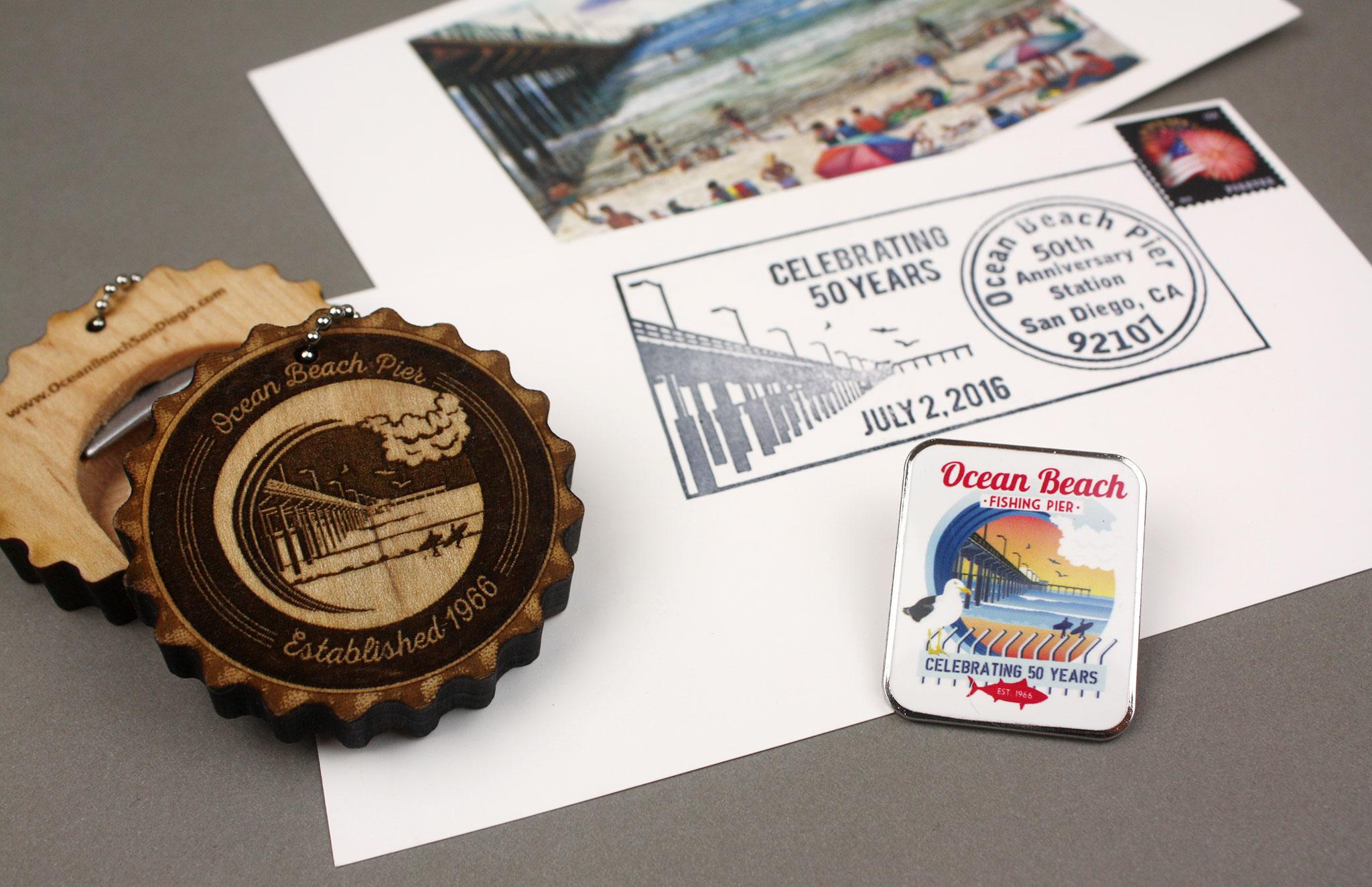 OB Pier 50th Anniversary merchandise and postmark