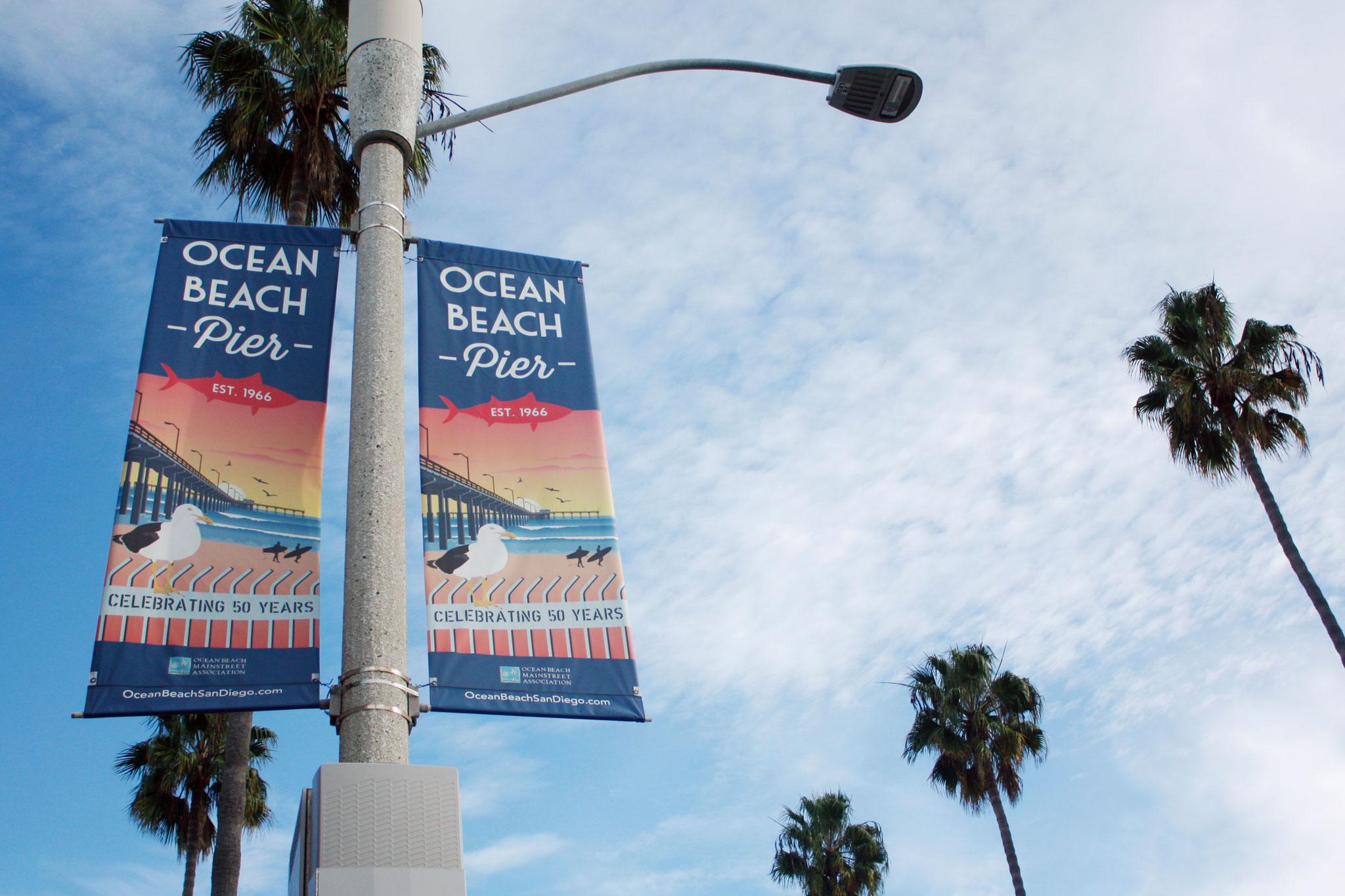 Ocean Beach Pier 50th Anniversary street banners by Ashley Lewis