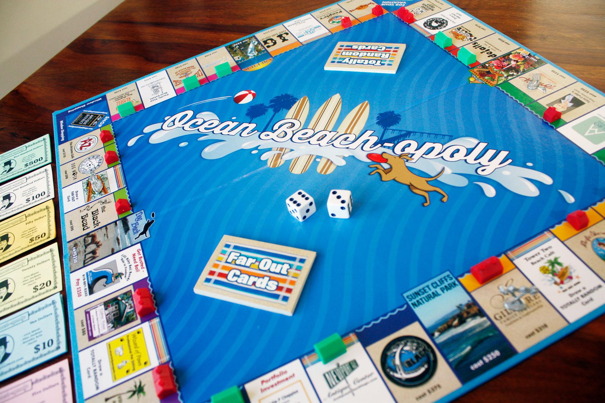 Ocean Beach-opoly game board