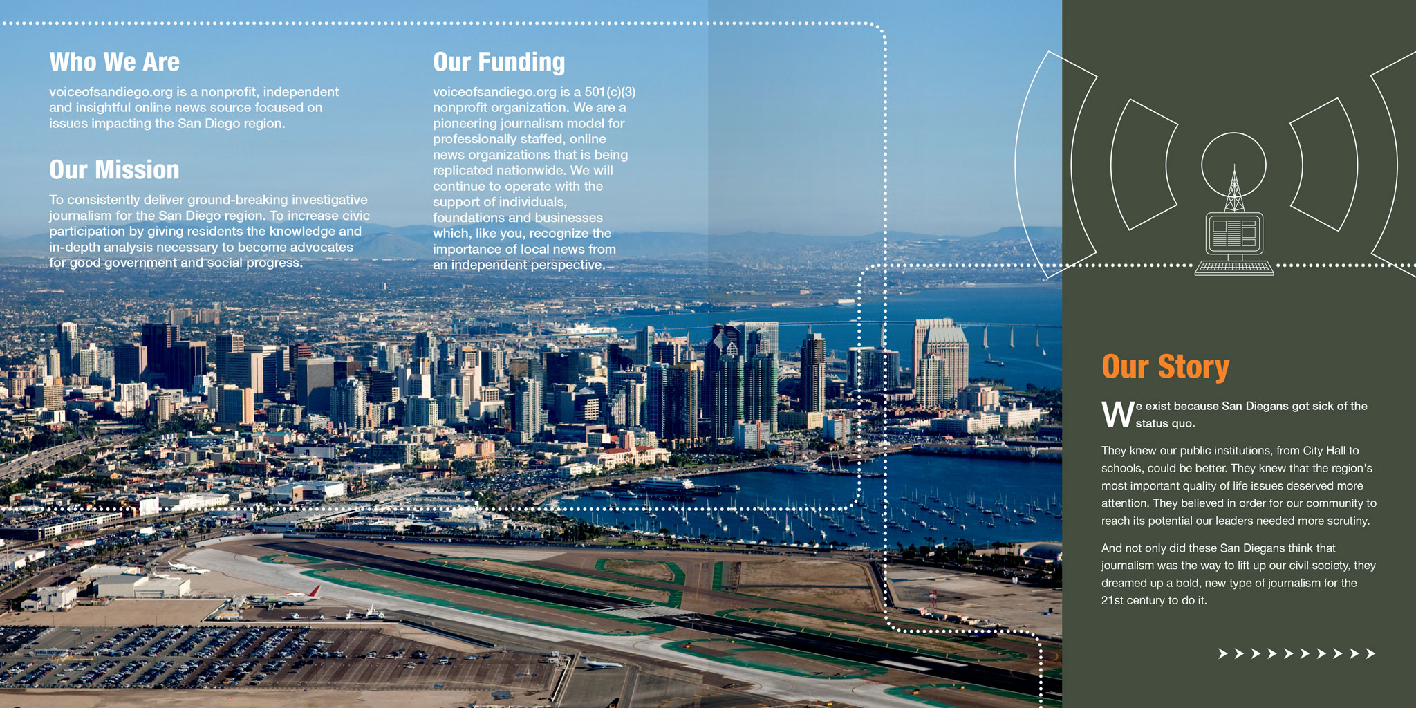 Voice of San Diego donor brochure design by Ashley Lewis