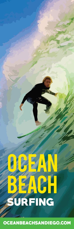 Ocean Beach surfing banner design by Ashley Lewis