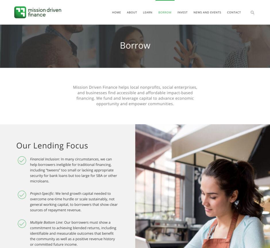 Mission Driven Finance website