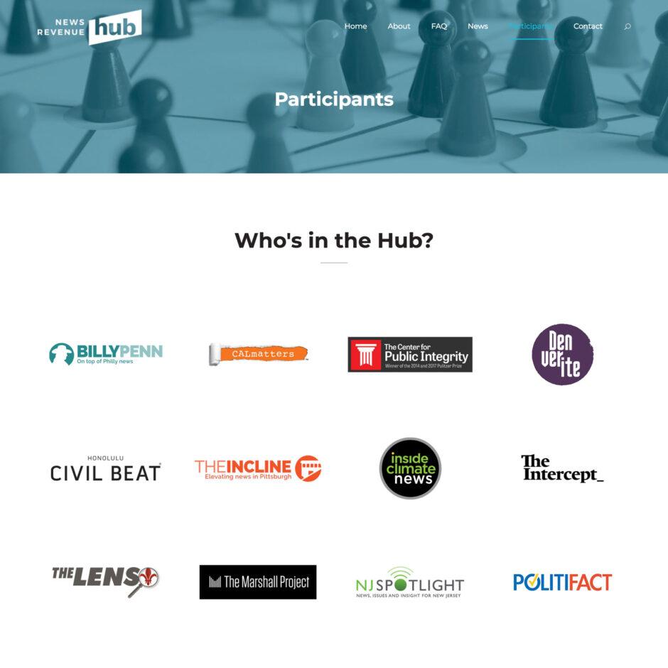 News Revenue Hub website Participants page
